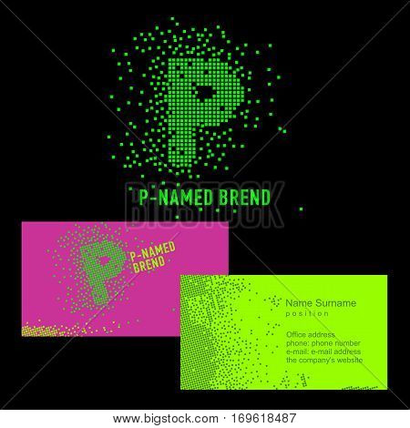 Template P brand name -Company. Corporate identity for the company on the letter P: logo, business card. Creative logo of pixels consists of particles letter P