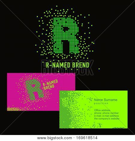 Template R brand name -Company. Corporate identity for the company on the letter R: logo, business card. Creative logo of pixels consists of particles letter R