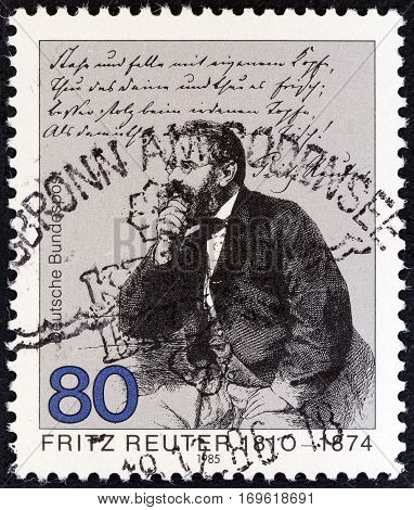 GERMANY - CIRCA 1985: A stamp printed in Germany issued for the 175th death anniversary of Fritz Reuter shows writer Fritz Reuter, circa 1985.
