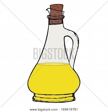 Oil bottle. Olive or vegetable oil bottle with cork.  Vector isolated object.