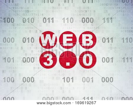 Web development concept: Painted red text Web 3.0 on Digital Data Paper background with Binary Code