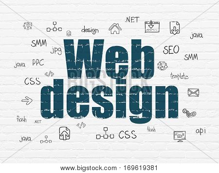 Web development concept: Painted blue text Web Design on White Brick wall background with  Hand Drawn Site Development Icons