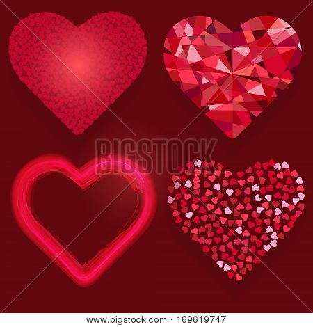 Heart icon set for Valentine's day greeting cards and wedding invitation design. Cristal jewel big heart consisting of many hearts glowing and shining hears vector illustration. Layered editable.