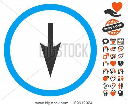 Sharp Down Arrow icon with bonus passion design elements. Vector illustration style is flat iconic elements for web design app user interfaces.