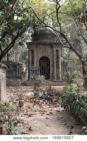 KOLKATA, INDIA - FEBRUARY 08: Kolkata Park Street Cemetery, inaugurated 1767, on February 08, 2016 in Kolkata, India.