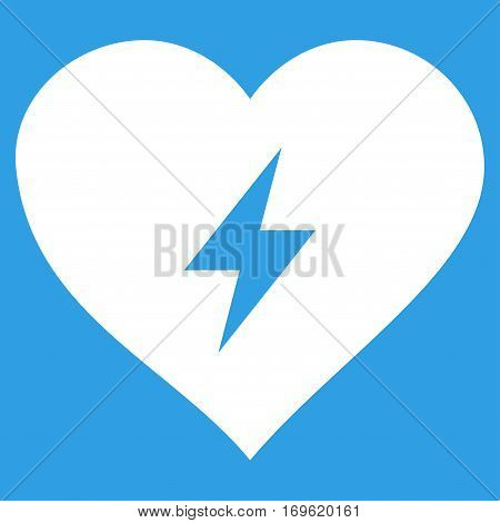 Heart Power flat icon. Vector white symbol. Pictograph is isolated on a blue background. Trendy flat style illustration for web site design logo ads apps user interface.