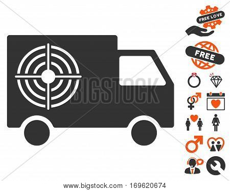 Shooting Gallery Truck pictograph with bonus decorative images. Vector illustration style is flat iconic elements for web design app user interfaces.