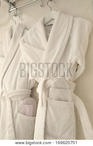 The image of female bathrobes poster
