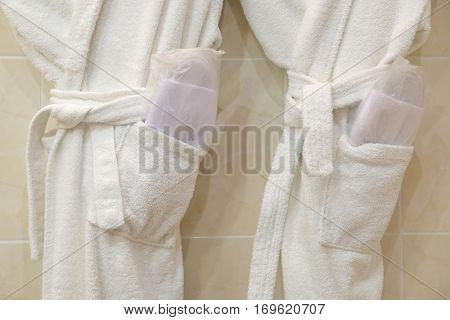 The image of female bathrobes