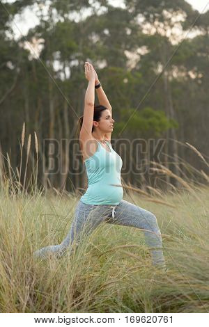Pregnant Fitness Woman Doing Yoga Breathing Exercise Outdoor