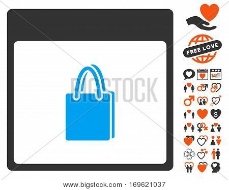 Shopping Bag Calendar Page icon with bonus passion pictograph collection. Vector illustration style is flat iconic elements for web design app user interfaces.