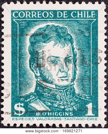 CHILE - CIRCA 1952: A stamp printed in Chile shows independence leader Bernardo O'Higgins Riquelme, circa 1952.