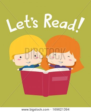 Illustration of a Little Boy and Girl Encouraging Other Kids to Read Books