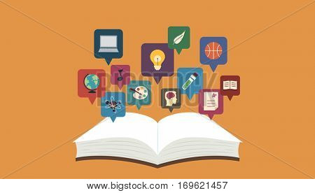 Illustration Featuring an Open Book with Icons Representing Various Topics Hovering Over It