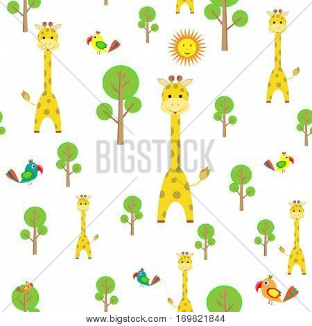 kids seamless pattern with cartoon giraffe, parrot, sun, baobab transparent background vector illustration