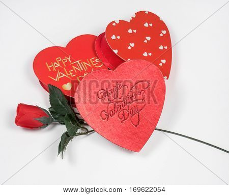 Valentine's Day Hearts with Red Silk Rose