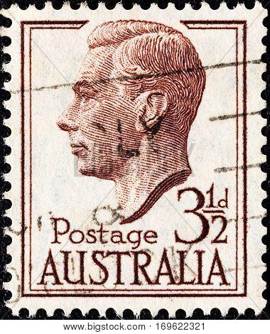 AUSTRALIA - CIRCA 1950: A stamp printed in Australia shows King George VI, circa 1950.