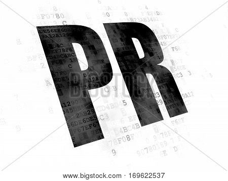 Advertising concept: Pixelated black text PR on Digital background