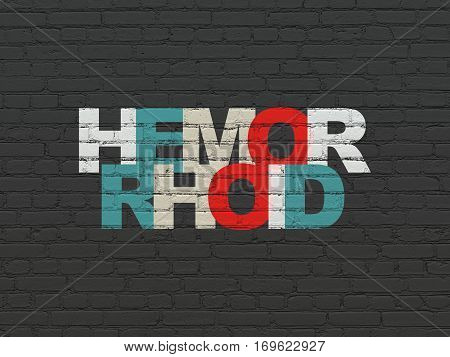 Medicine concept: Painted multicolor text Hemorrhoid on Black Brick wall background