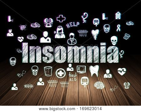Health concept: Glowing text Insomnia,  Hand Drawn Medicine Icons in grunge dark room with Wooden Floor, black background