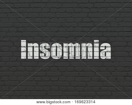 Medicine concept: Painted white text Insomnia on Black Brick wall background