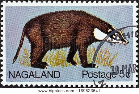 NAGALAND STATE - CIRCA 1969: A stamp printed in India shows a badger, circa 1969.