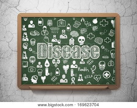 Health concept: Chalk White text Disease on School board background with  Hand Drawn Medicine Icons, 3D Rendering