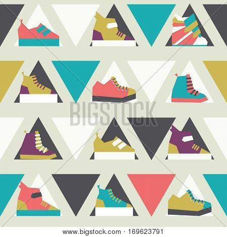 Seamless vector illustration with triangles and sport sneakers shoes in seamless pattern in bright colors. Lowpoly design for fashion purposes. Women footwear in pink blue and purple.