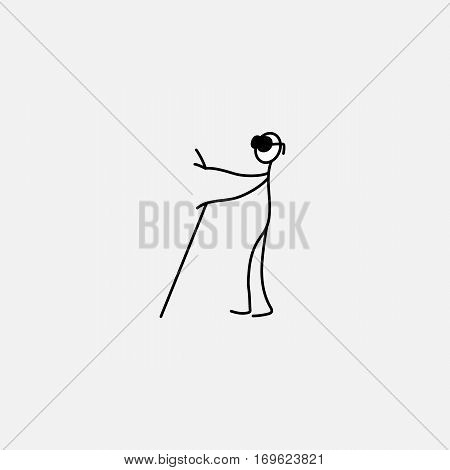 Blind Person with Cane Icon stick figure