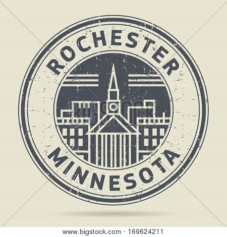 Grunge rubber stamp or label with text Rochester Minnesota written inside vector illustration