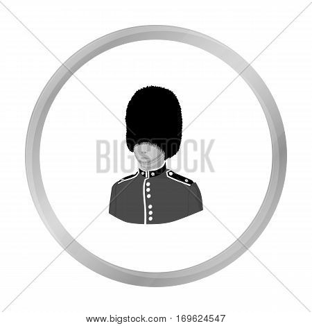 Queen s guard icon in monochrome style isolated on white background. England country symbol vector illustration.