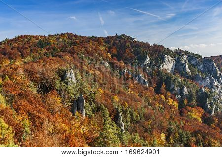 Autumn view of the Sulovske rocks at the Slovak