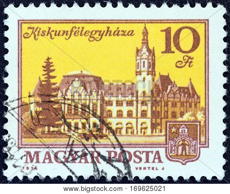 HUNGARY - CIRCA 1972: A stamp printed in Hungary shows Kiskunfelegyhaza, circa 1972.