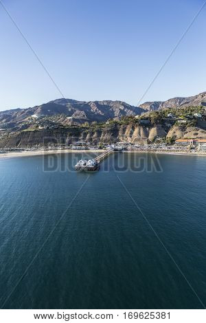Aerial view of Malibu Pier and the Pacific Ocean in Southern California.