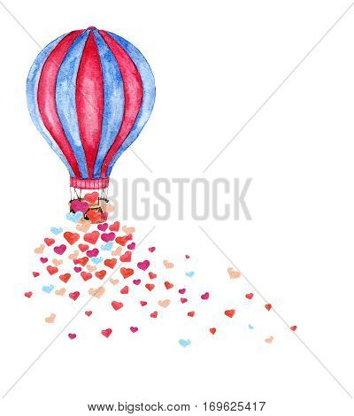 Watercolor bright card with hot air balloon and many hearts. Hand drawn vintage collage illustration with hot air balloon isolated on white background.