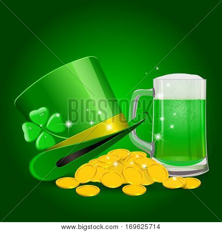 St. Patrick Day Background on green. Vector illustration