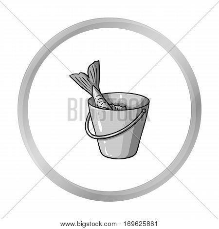 Fish in the bucket icon in monochrome design isolated on white background. Fishing symbol stock vector illustration.