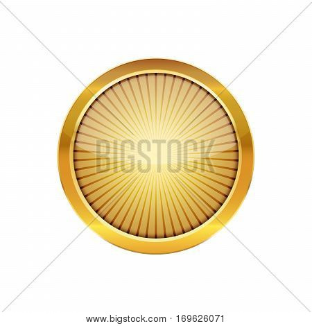Golden round button with a metal frame. Vector illustration. Round button with rays inside isolated on white background.