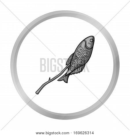 Fried fish icon in monochrome design isolated on white background. Fishing symbol stock vector illustration.