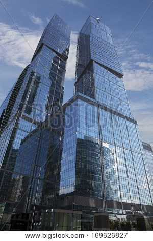 Low angle view of skyscrapers in Moscow International Business Center