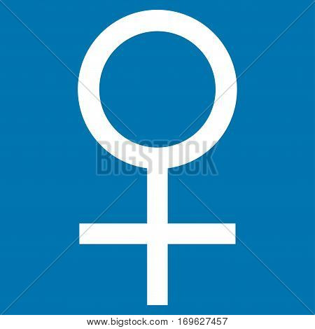 Venus Female Symbol flat icon. Vector white symbol. Pictograph is isolated on a blue background. Trendy flat style illustration for web site design logo ads apps user interface.