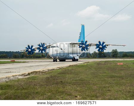 Kiev Region Ukraine - September 25 2008: Antonov An-70 turboprop cargo plane taxiing after a flight