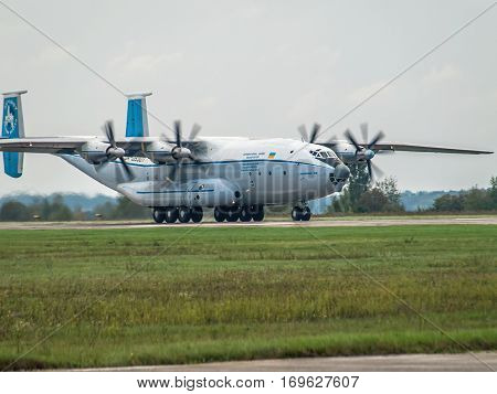 Kiev Region Ukraine - September 25 2008: Antonov An-22 turboprop cargo plane is taking off
