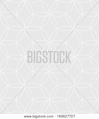 Neutral Seamless Linear Pattern. Tileable Geometric Outline Ornate. Circles Vector Background.