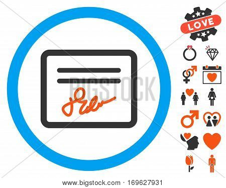 Signed Agreement Document icon with bonus decorative images. Vector illustration style is flat iconic elements for web design app user interfaces.