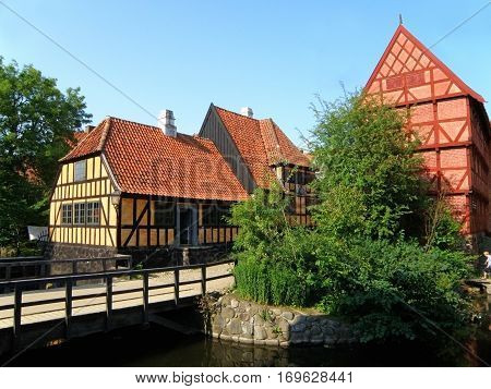 Vibrant Color Traditional Houses of the Northern Europe in Den Gamle By, The Old Town of Aarhus, Denmark