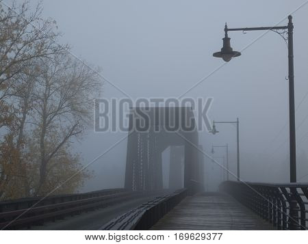 Bridge over the Mohawk River on a foggy morning in NY