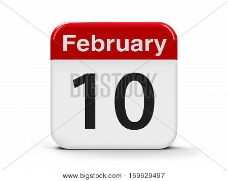 Calendar web button - The Tenth of February three-dimensional rendering 3D illustration