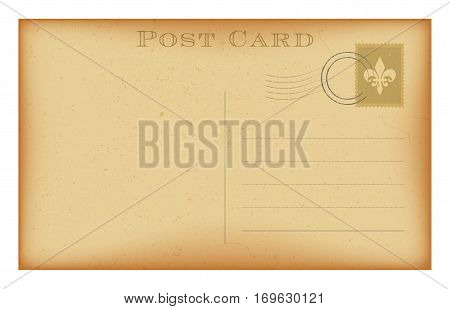 Old postcard with stamp. Grunge paper vintage post card. Isolated on white. Vector illustration.
