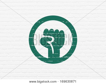 Politics concept: Painted green Uprising icon on White Brick wall background